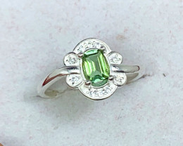 Natural 9.00 Carats Mint Green Tourmaline 925 Silver Ring