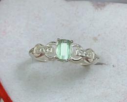 Natural 10.00 Carats Mint Green Tourmaline 925 Silver Ring
