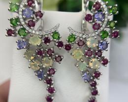 Natural Opal,Tanzanite, Opal, Tsavorite and Garnet Earring.