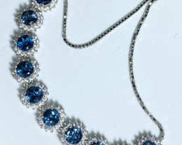 10 pis London blue topaz 925 silver bracelet