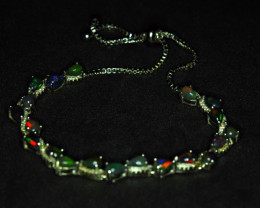 Natural 20 Pieces AAA Multi Fire Opal 925 Silver Amazing Bracelet