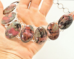 680.5 Tcw. Natural Rhodonite / Sterling Silver Necklace - Beautiful