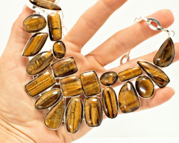 717.5 Tcw. Natural Tiger Eye / Sterling Silver Necklace - Gorgeous