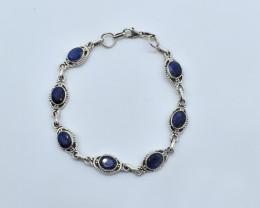 BLUE SAPPHIRE BRACELET NATURAL GEM 925 STERLING SILVER AB104