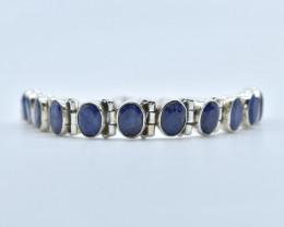BLUE SAPPHIRE BRACELET NATURAL GEM 925 STERLING SILVER AB106