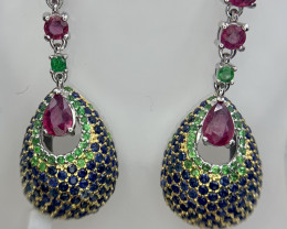 Precious Natural Ruby Tsavorite and Sapphire Earring.