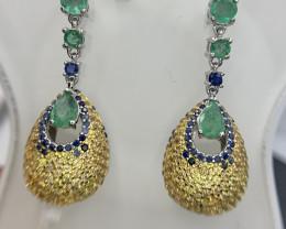 599$ Precious natural Emerald,Tsavorite and sapphire Earrings.