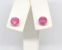 9kt. Gold - Pink Sapphire Earrings 2.25tcw.