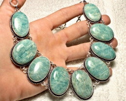 602.05 Tcw. Natural Amazonite / 9.25 Sterling Silver Necklace - Stunning