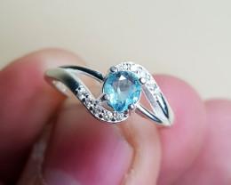 Natural Blue Aquamarine 9.90 Carats 925 Silver Ring