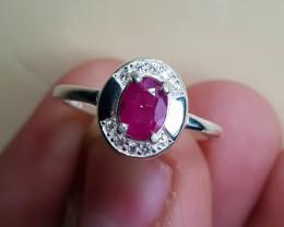 Natural Ruby 10.50 Carats 925 Silver CZ Ring