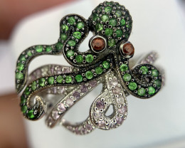 Natural Octopus Sapphire Ring.
