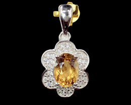 1.59ct. Exquisite Natural Heliodor Eye's Catching Silver925Pendant.DHD282