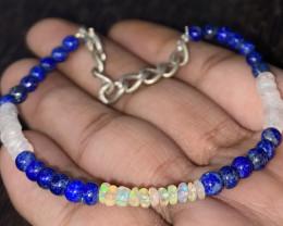22.70 Crt Natural Welo Opal, Lapis & Moonstone Bracelet 431
