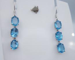 Natural Blue Topaz Earrings