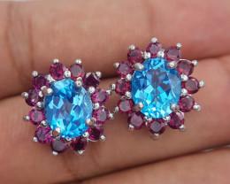 Natural Topaz And Rhodolite Garnet Earrings