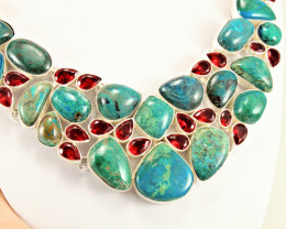 508.5 Tcw. Chrysocolla, Garnet / Sterling Silver Necklace - Gorgeous