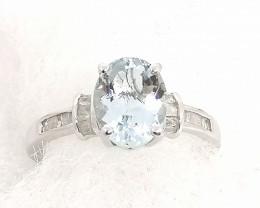Aquamarine and Diamond Ring 1.78tcw.