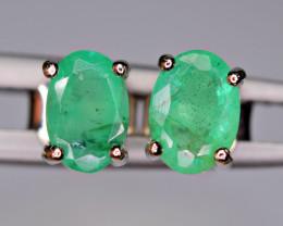 Natural Precious Green Emerald 925 Silver Brilliant Earrings