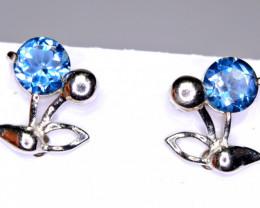 Natural 2Pis London Blue Topaz 925 Silver Earrings