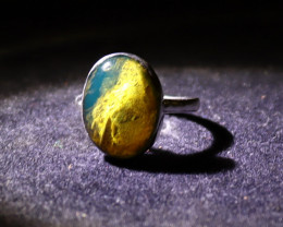 Charming Design Natural Clear Sky Blue Amber .925 Sterling Silver Ring #6.5