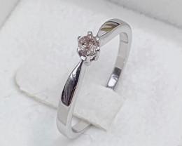 Stylish Classic Natural Diamond  0.12 Cts ~ Silver  Ring