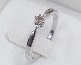 Stylish Classic Natural Diamond  0.13 Cts ~ Silver  Ring