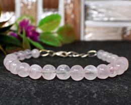 Genuine 81.00 Cts Rose Quartz Beads Bracelet