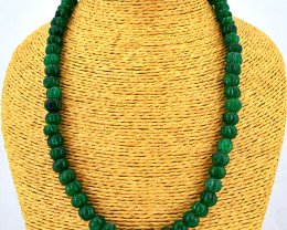 Genuine 320.00 Cts Green Jade Flower Carved Beads Necklace