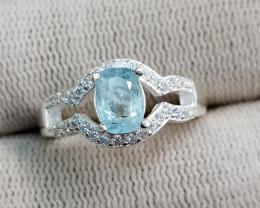 Natural Blue Aquamarine 18.50 Carats 925 Silver Ring