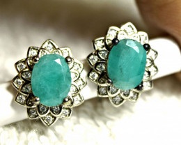 26.0 Tcw. Antique Style Sterling Silver Emerald Earrings - Gorgeous