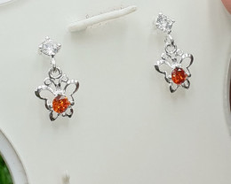 Artificial synthetic Stone 925 silver Earring with CZ