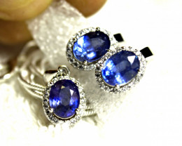 60.5 Tcw. Silver, White Gold Plated Sapphire Earrings, Pendant and Chain