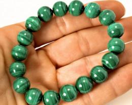 226.5 Tcw. Malachite Beaded Bracelet, Adjustable  - Gorgeous