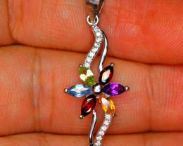 Natural Multi stones, CZ 925 Silver Amazing Pendant