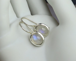 Magnificent 1 inch Natural Clear Light Blue Moonstone .925 Sterling Silver