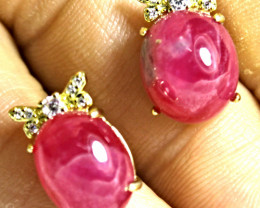27.89 Tcw. Sterling Silver, Gold Plated Ruby Earrings - Gorgeous