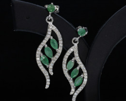 Beautiful Natural Emerald 19.33 Cts CZ and Silver Earring