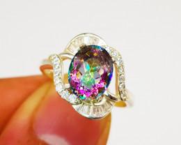Natural Mystic Quartz Ring 925 Sterling Silver