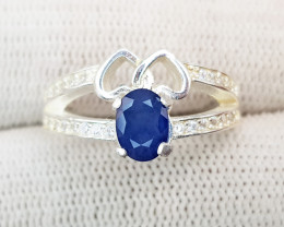 Opaque Blue Sapphire Ring Genuine 925 Sterling Silver