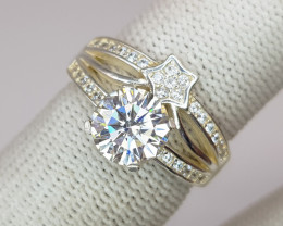 White Moissanite Ring In 925 Sterling Silver