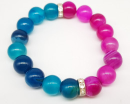 Purple And Blue Agate Beads Stretch  Bracelet