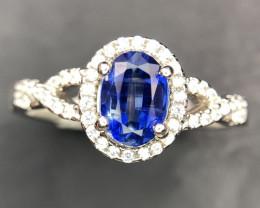 Splendid Kyanite & CZ Silver Ring