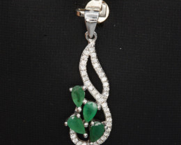 Beautiful Natural Emerald 11.12 Cts, CZ and Silver Pendant