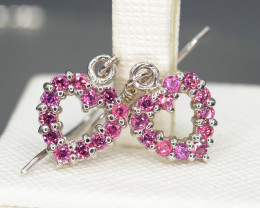Natural Rhodolite Garnet 11.38 Cts Silver Earrings Beautiful Design