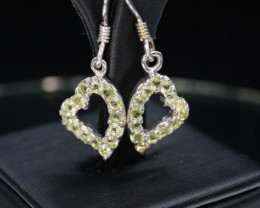 Natural Green Peridot 8.92 Cts CZ and  Silver Earrings