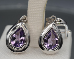 Natural Amethyst Silver Earrings 25.81 Cts Unique Design
