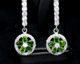 Natural Chrome Diopside , Silver Earrings