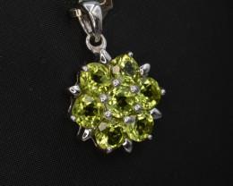 Natural Green Peridot 18.68 Cts CZ and  Silver Pendant