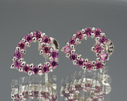 Natural Rhodolite Garnet 10.17 Cts Silver Earrings